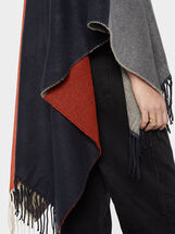 Colour Block Poncho With Fringe Trim, Multicolor, hi-res