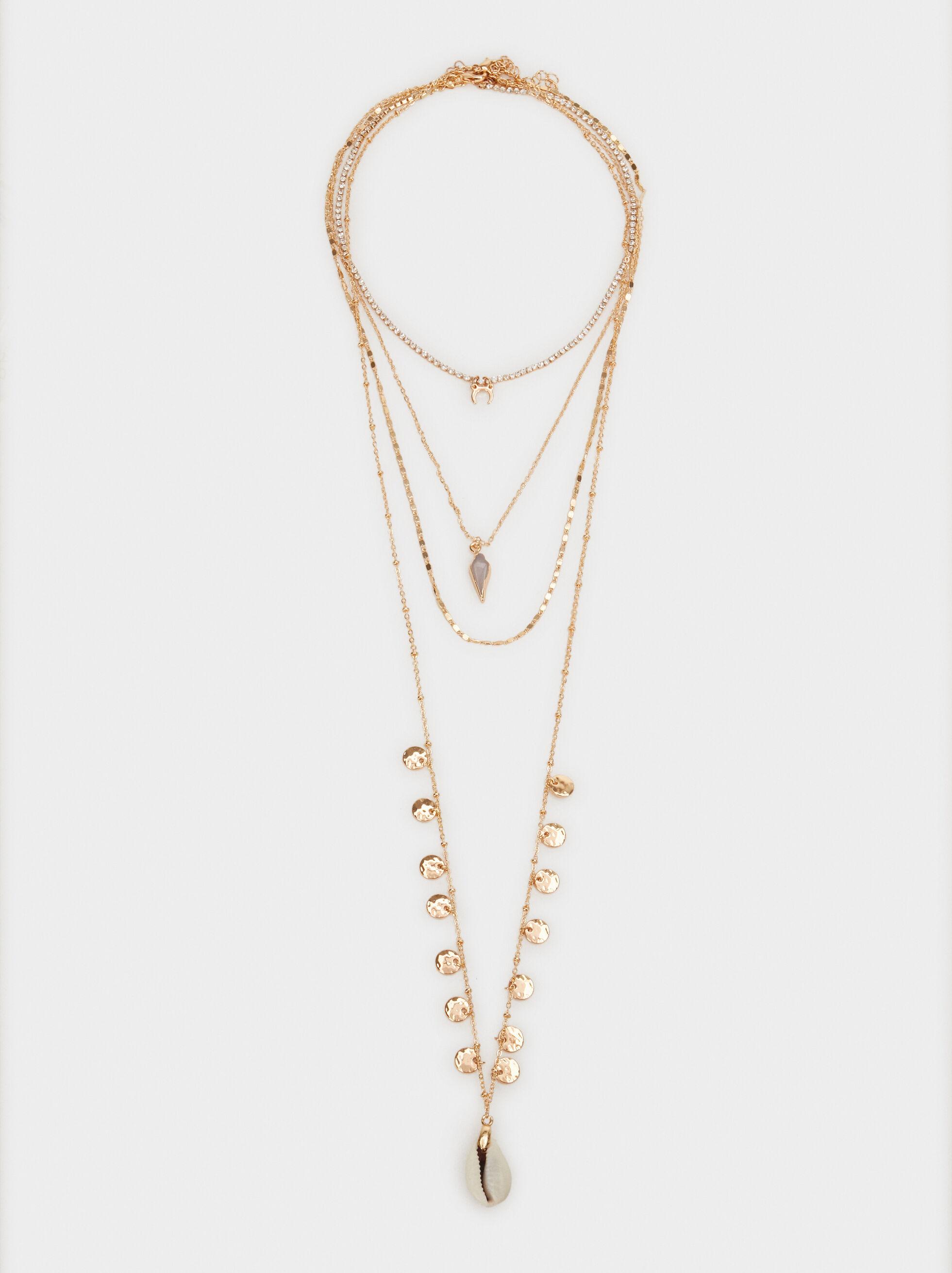 Set Of Hoop Fever Necklaces With Pendants, Golden, hi-res