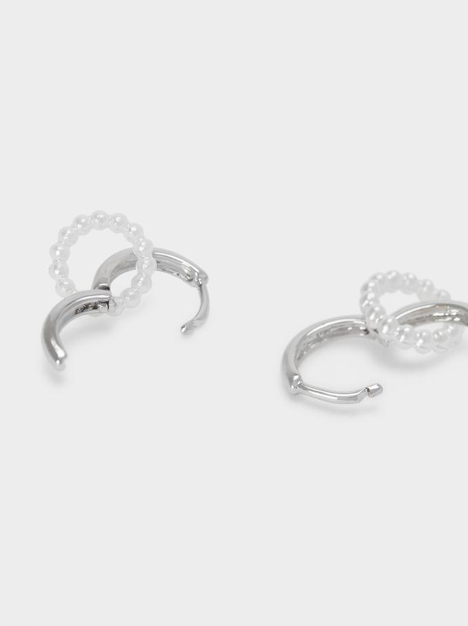 Small Detachable Hoop Earrings, Silver, hi-res
