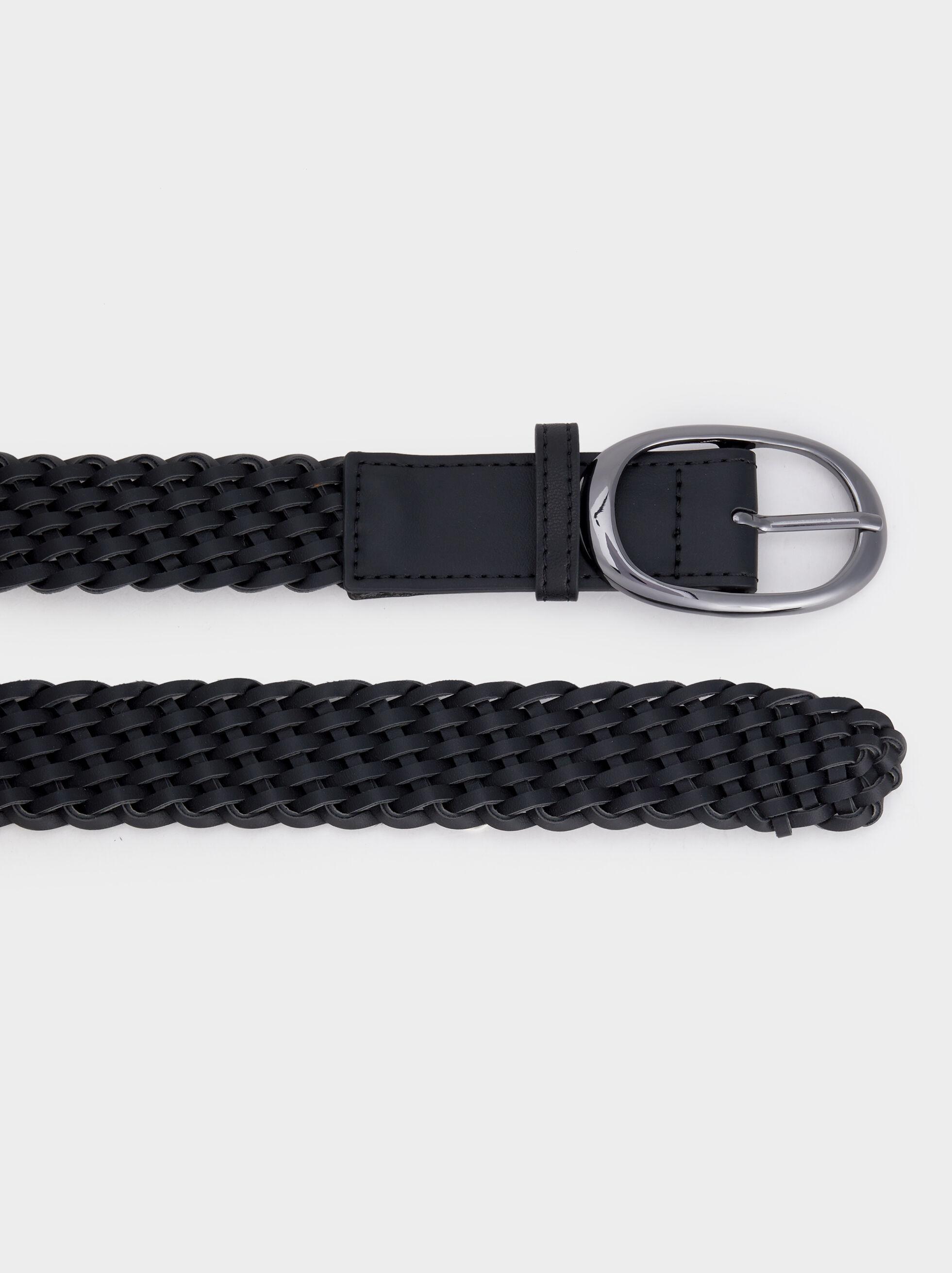 Belt With Oval Buckle, Black, hi-res