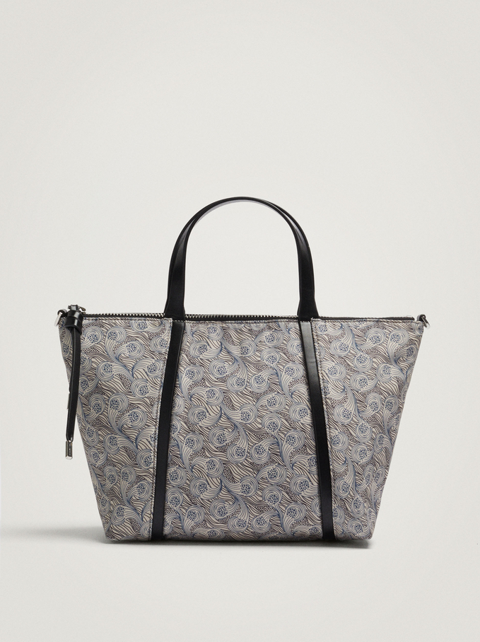 Nylon Shopper Bag Made From Recycled Materials, Grey, hi-res