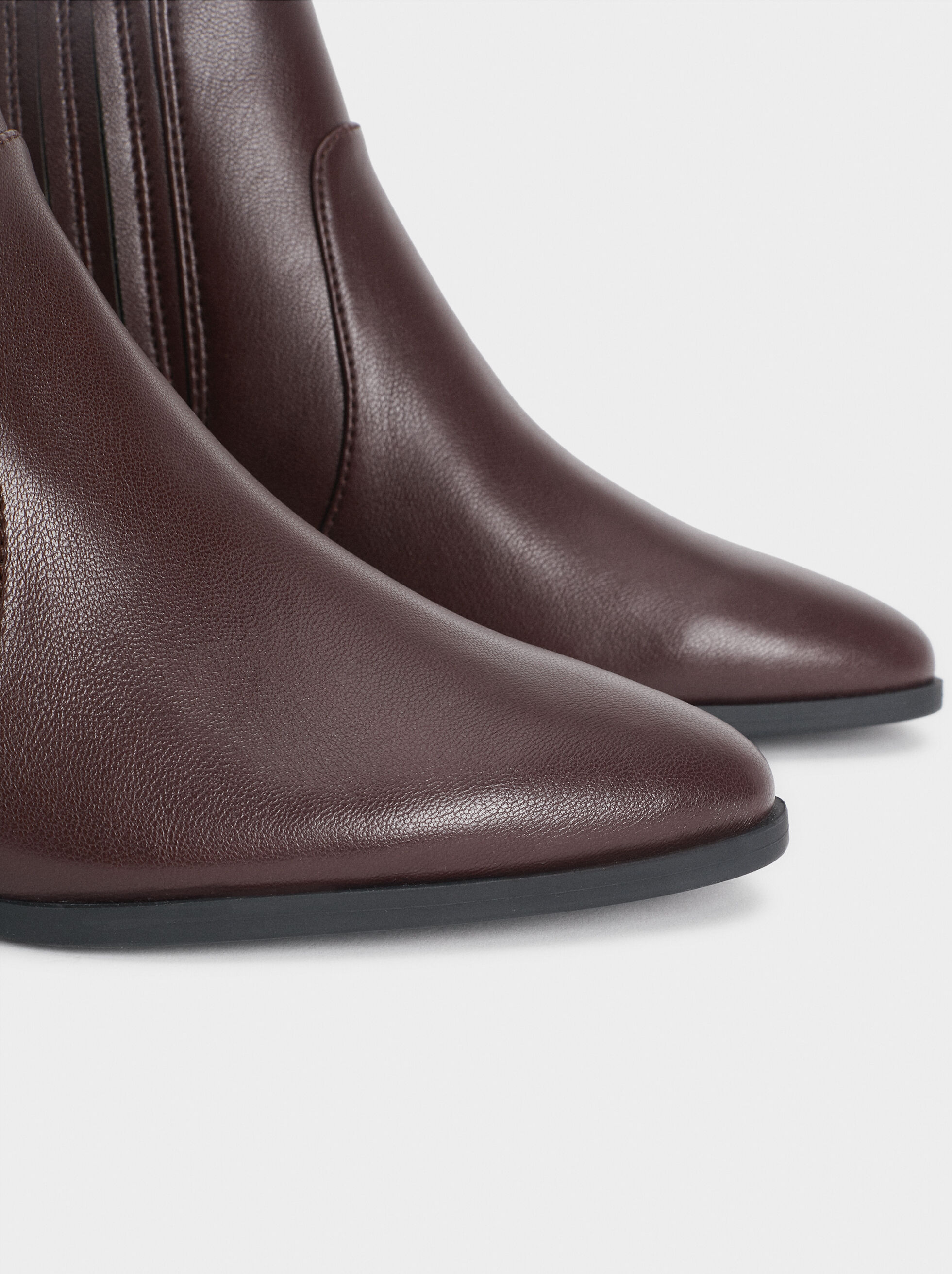 Ankle Boots With Stretch Detail, Bordeaux, hi-res