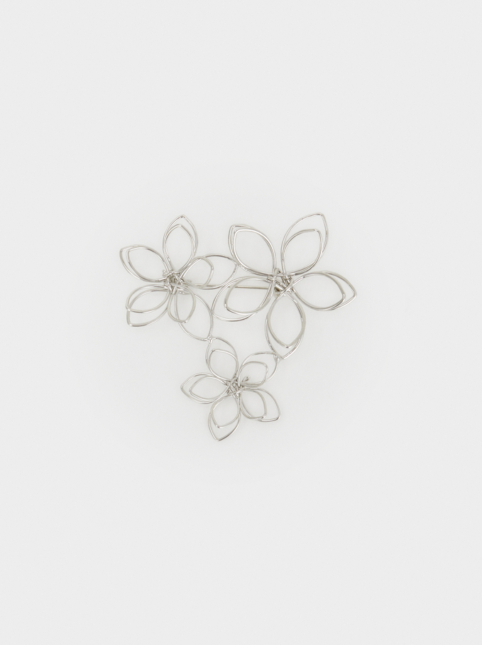Set Of Flower Brooches, Silver, hi-res