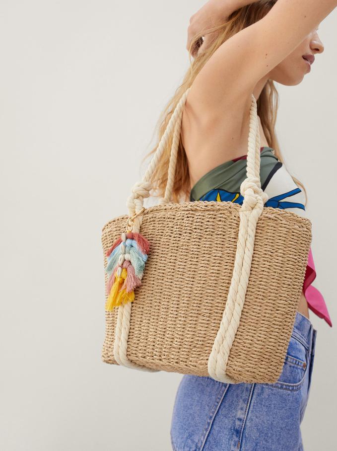 Textured Raffia Shopper Bag With Pendant, Ecru, hi-res
