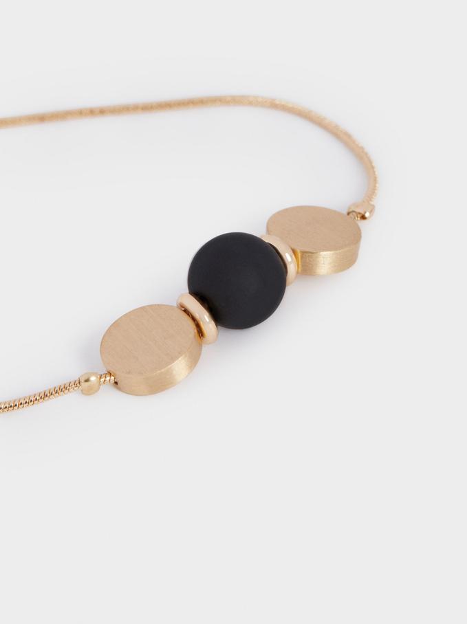 Adjustable Bracelet With Beads, Black, hi-res