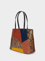 Patchwork Design Tote Bag, Camel, hi-res