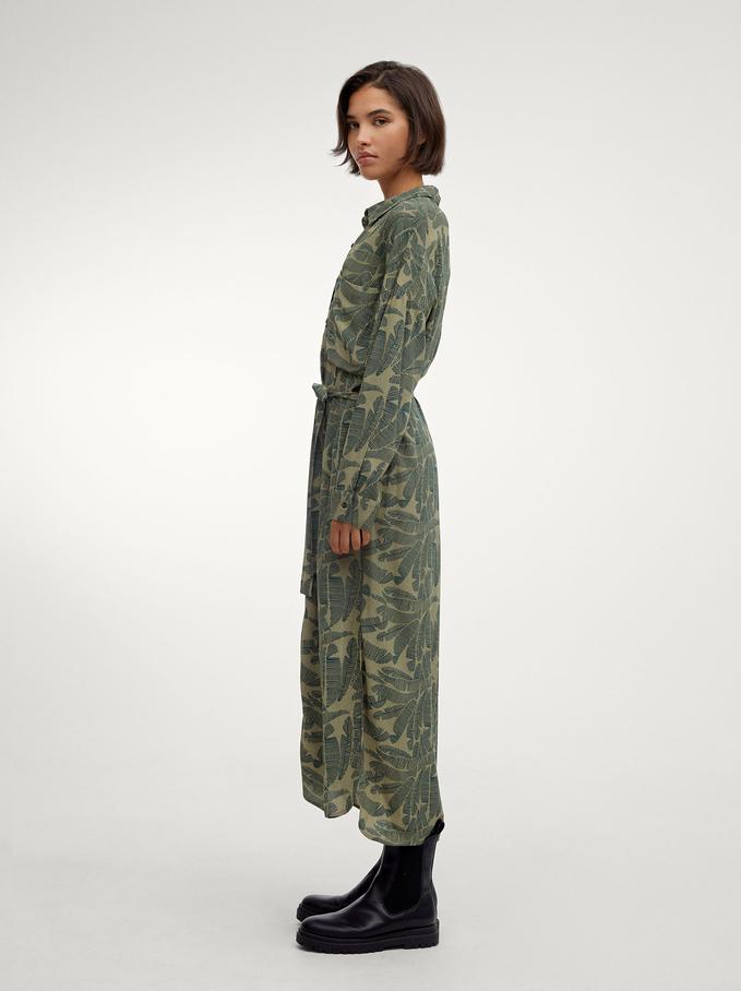 Leaf Print Shirt Dress, Green, hi-res