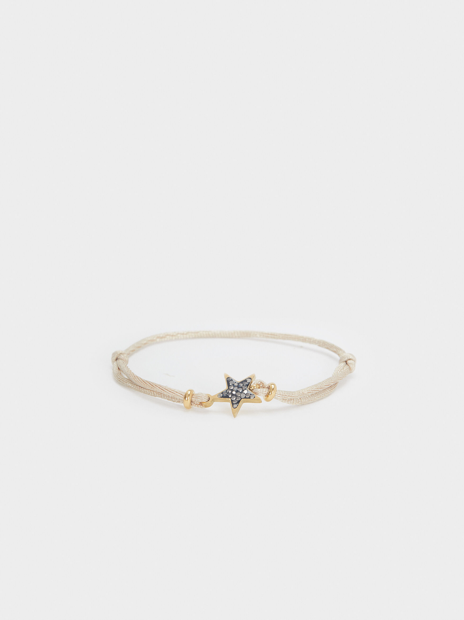 Adjustable Chain Bracelet With Star Detail, Beige, hi-res