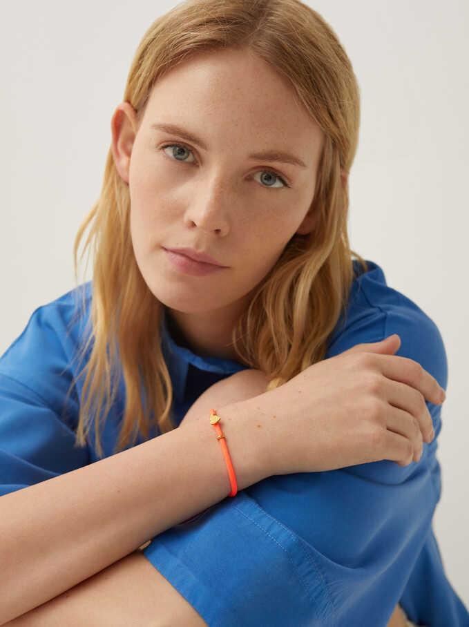 Bracelet Réglable En Acier Cœur, Corail, hi-res