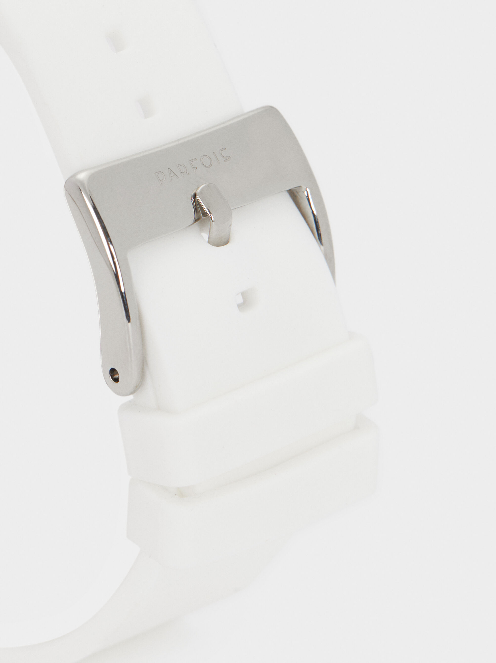 Digital Watch With Silicone Wristband, White, hi-res