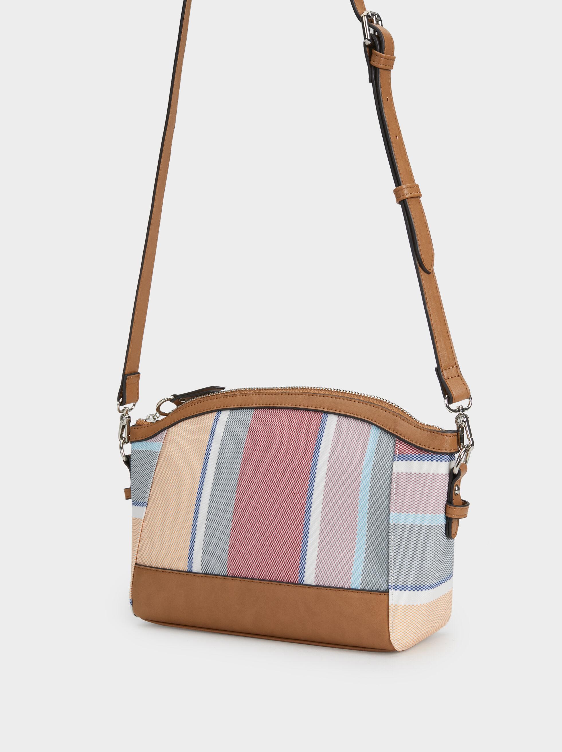 Striped Crossbody Bag, Pink, hi-res