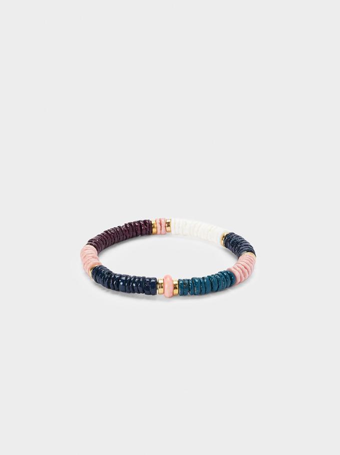 Elastic Bracelet With Shell, Multicolor, hi-res