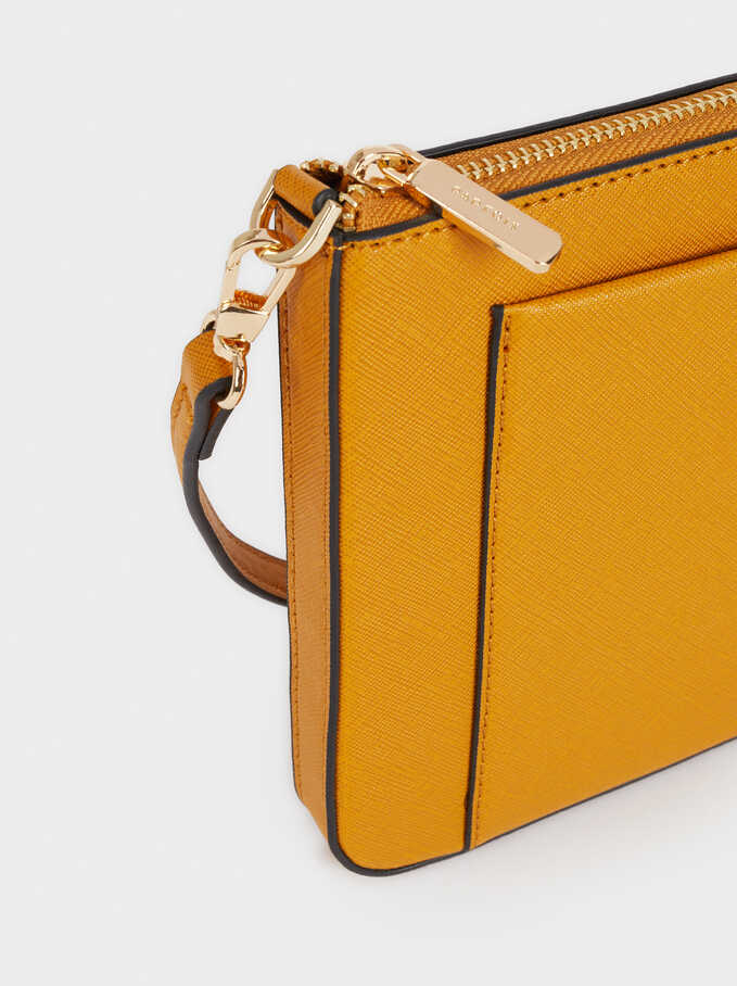 Shoulder Bag With Outer Pocket, Mustard, hi-res