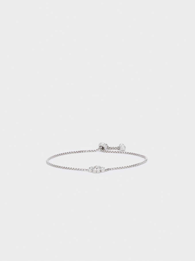 Adjustable Stainless Steel Bracelet With Crystals, Silver, hi-res