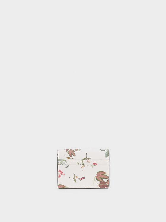 Floral Print Card Holder, Beige, hi-res