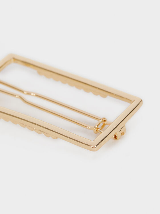 Rectangular Hairclip, Golden, hi-res
