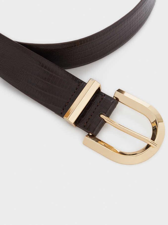 Cinturón Grabado Animal, Marrón, hi-res
