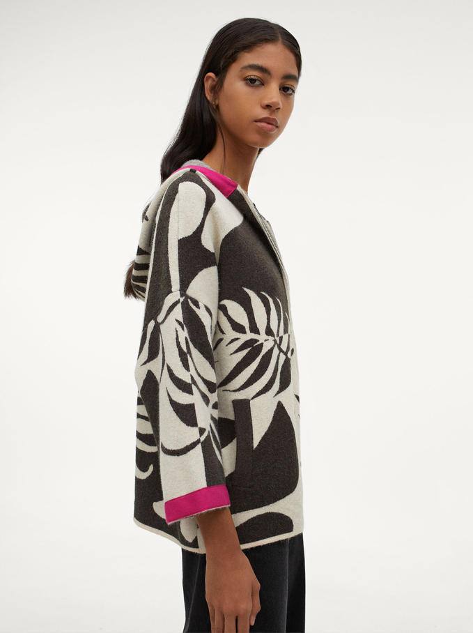 Knitted Cardigan With Hood, Ecru, hi-res