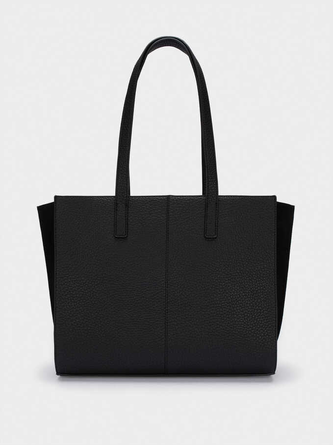 "Embossed Tote Bag For 13"" Laptop, Black, hi-res"