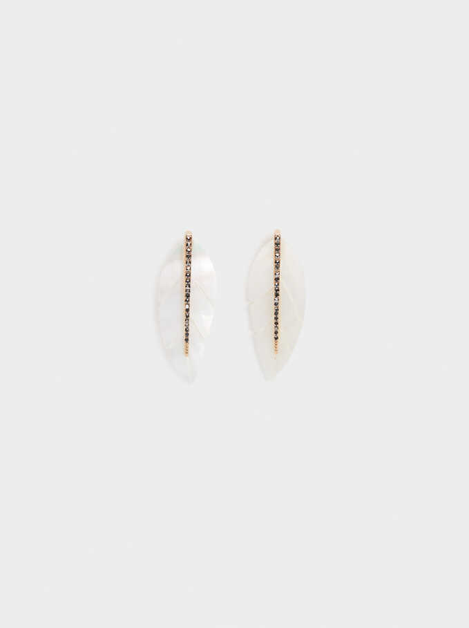 Leaf Earrings With Crystals, Golden, hi-res