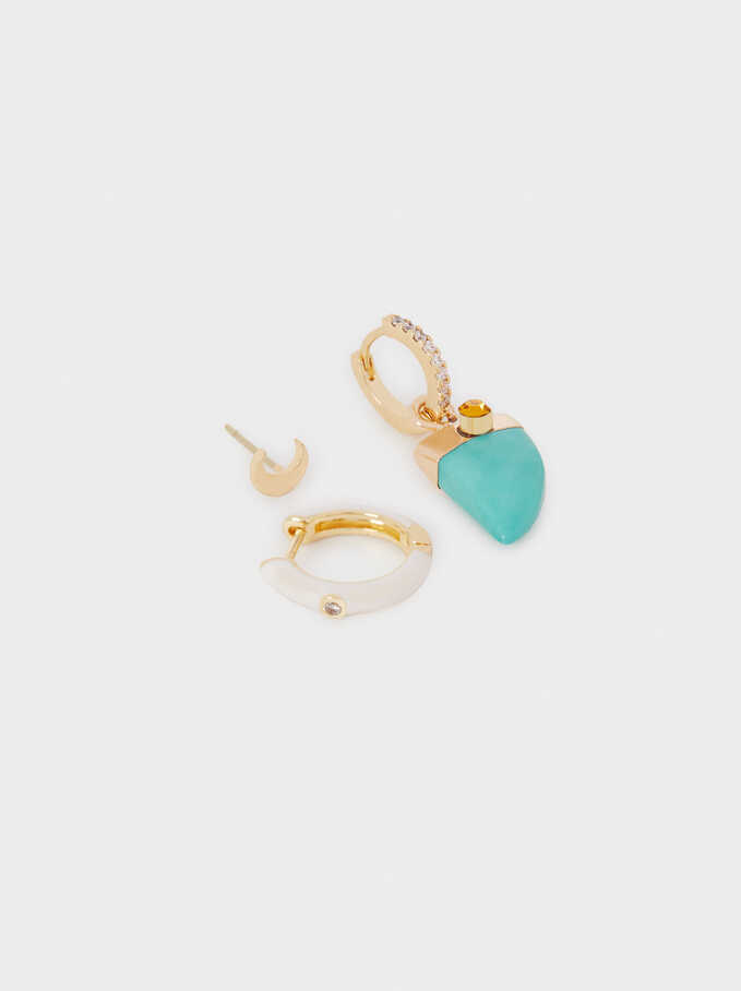 Set Of Stone Earrings, Multicolor, hi-res