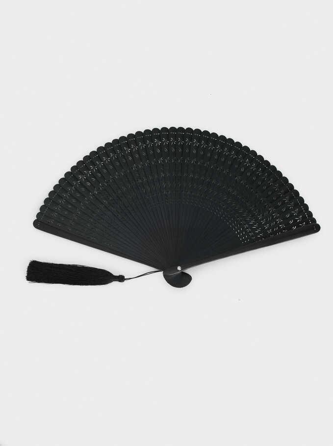 Faux Wood Fan, Black, hi-res