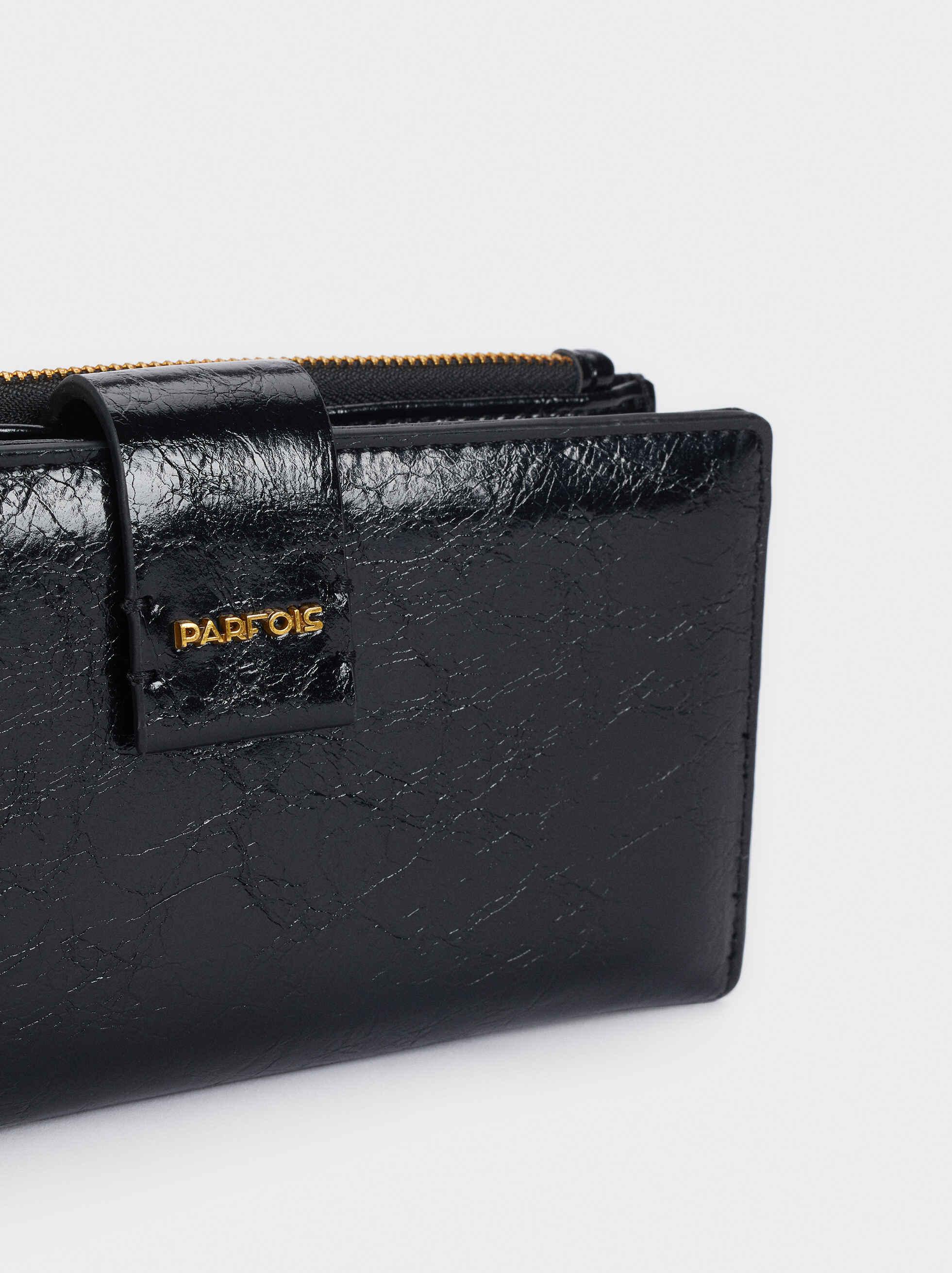 Embossed Animal Print Wallet, Black, hi-res