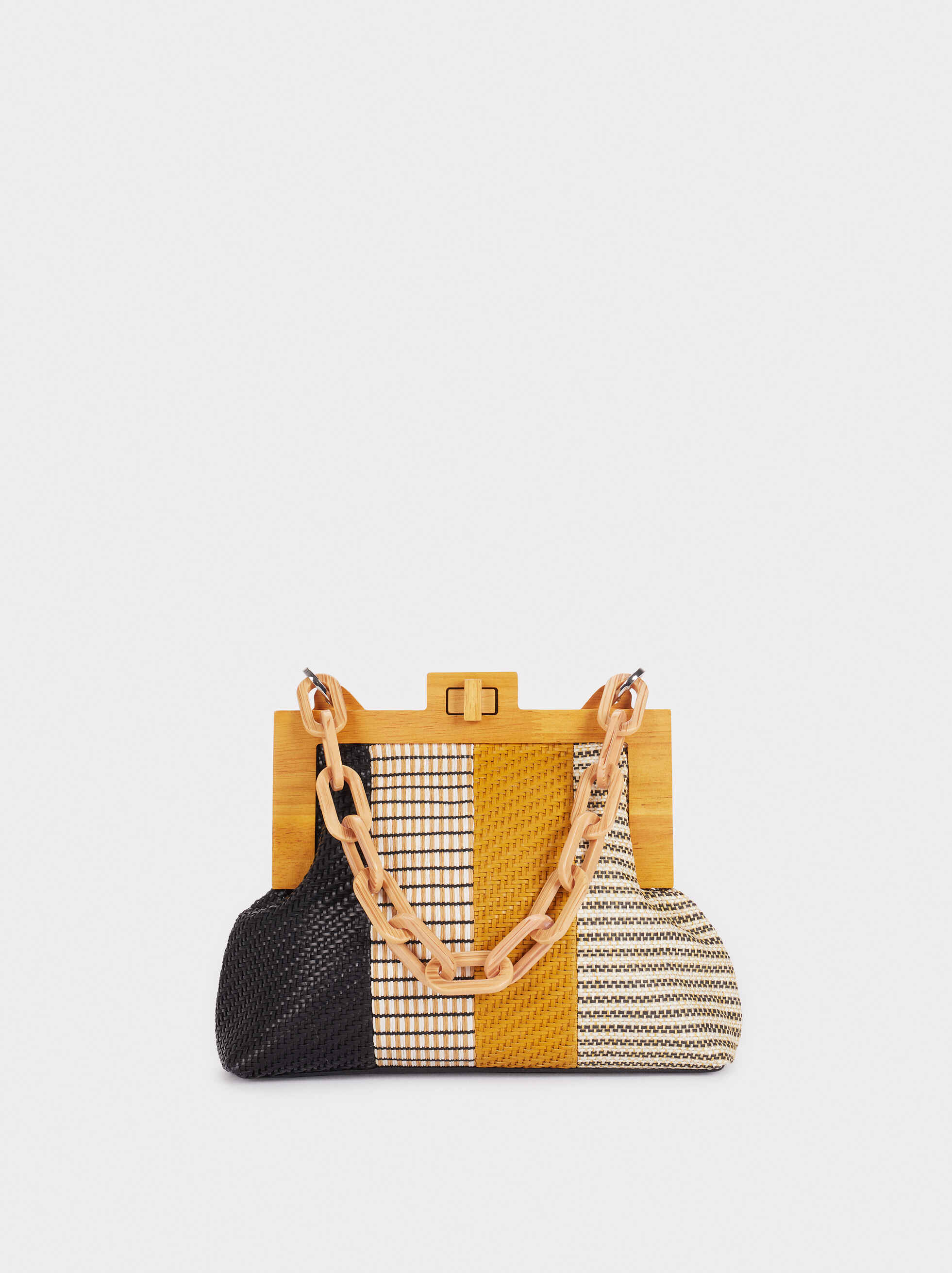 Raffia Crossbody Bag With Handle, Black, hi-res