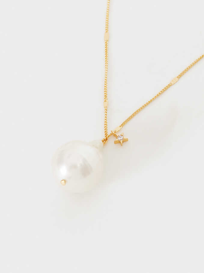 Short Silver 925 Necklace With Pearl, Beige, hi-res