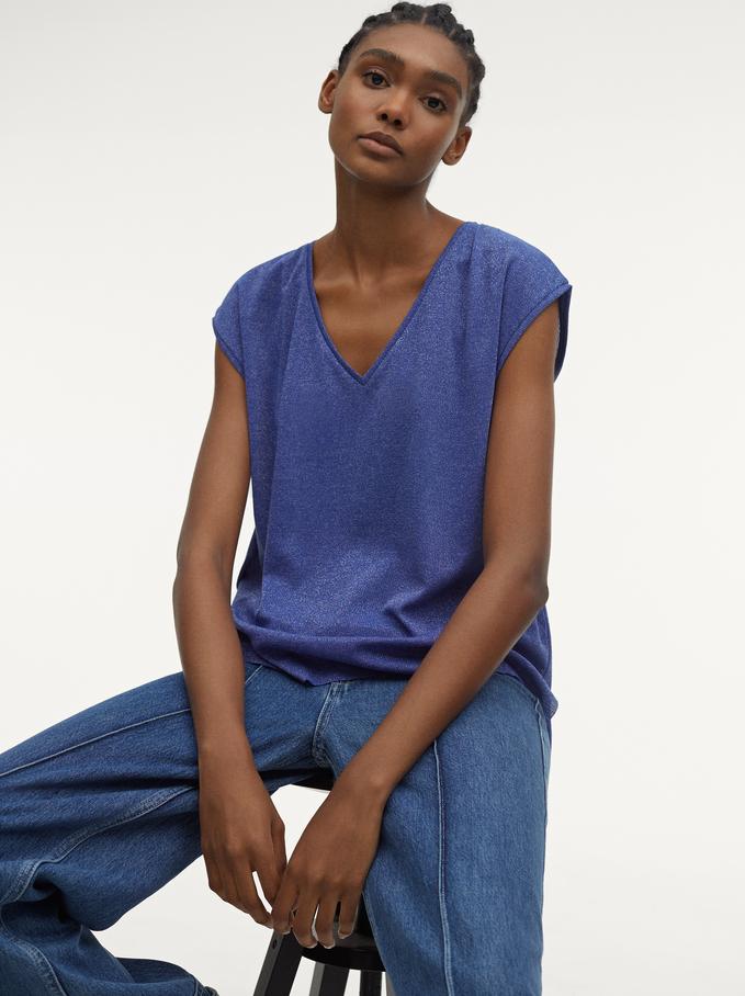Camiseta De Lurex Con Cuello De Pico, Azul, hi-res
