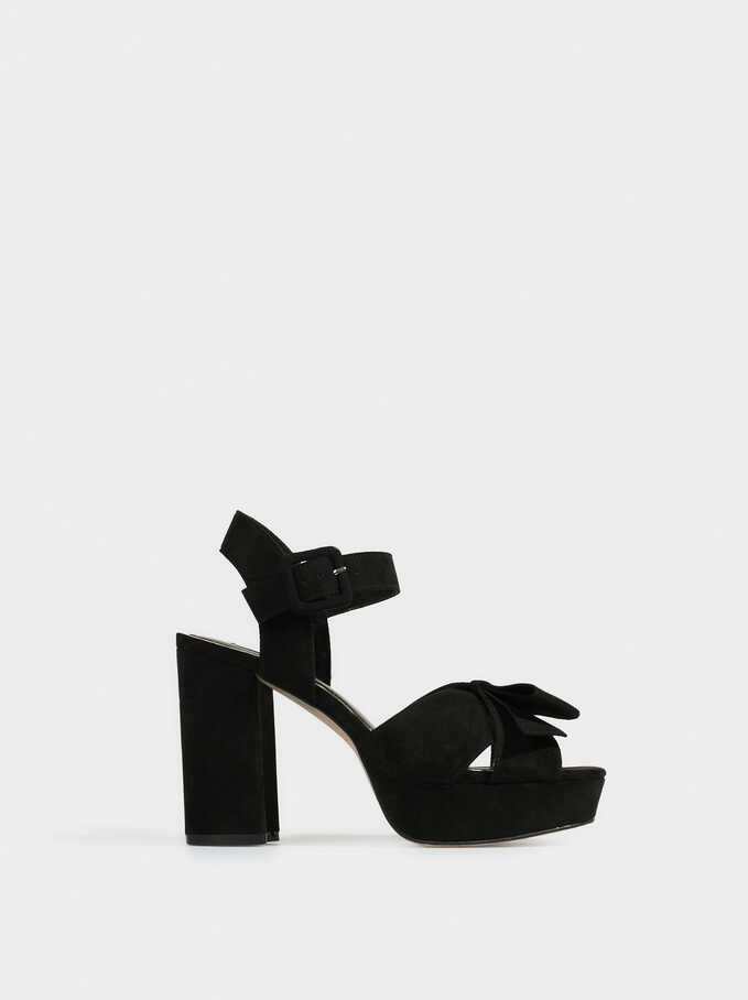 Platform Sandals With Bow, Black, hi-res