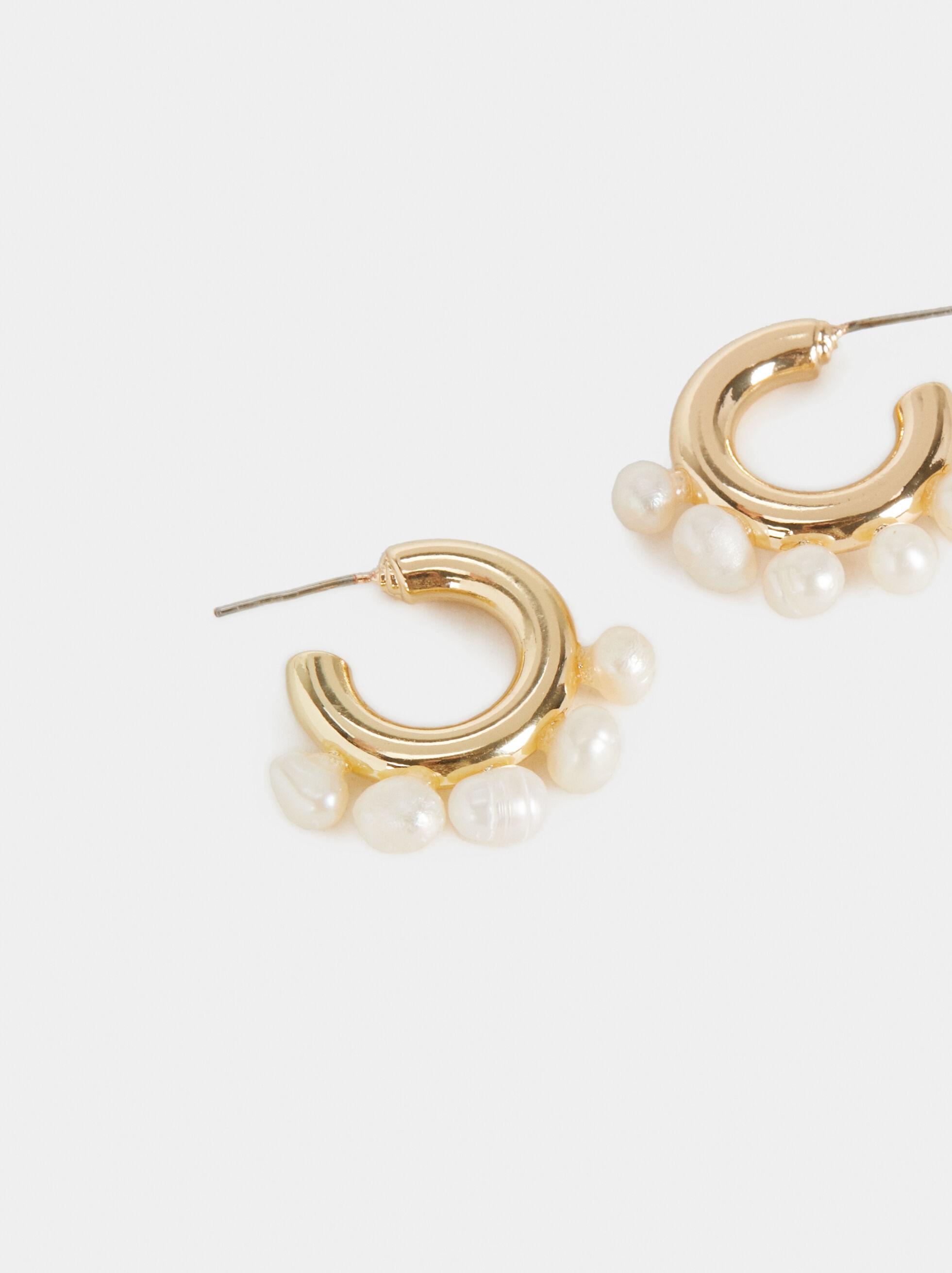 Small Blog Pearl Bead Hoop Earrings, White, hi-res