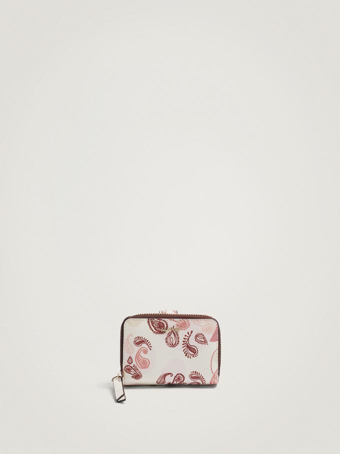 Paisley Print Card Holder Purse, Pink, hi-res