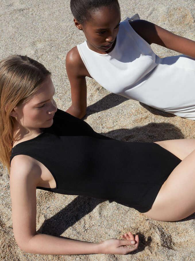 Cross Back Bodysuit, Black, hi-res