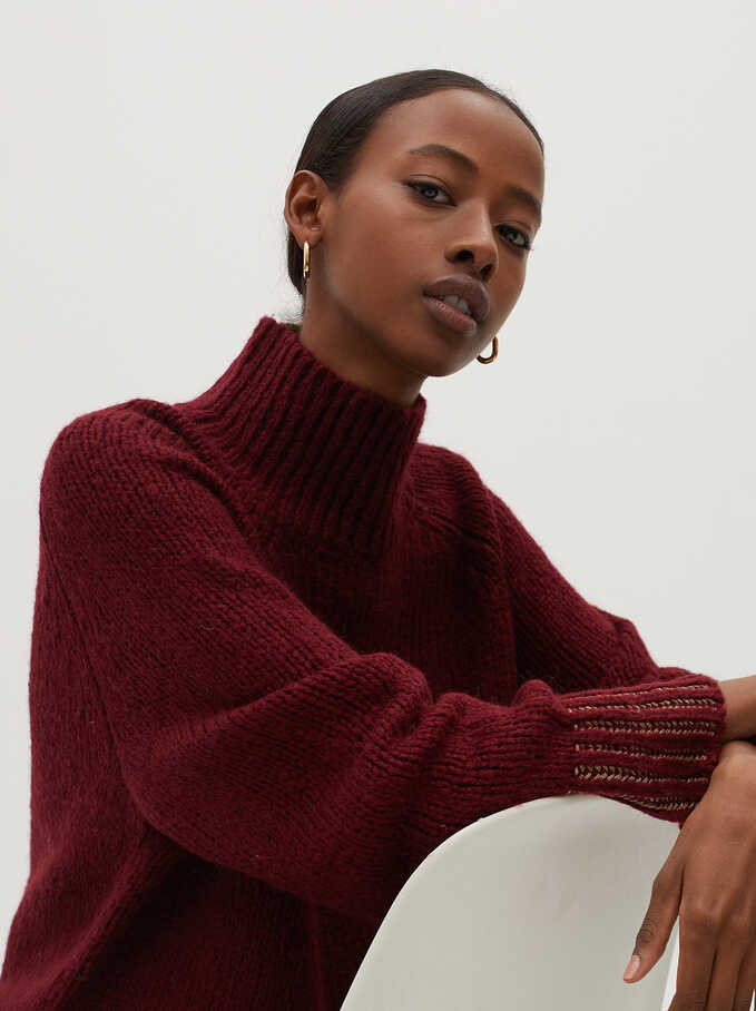 Knitted High Neck Sweater, Bordeaux, hi-res