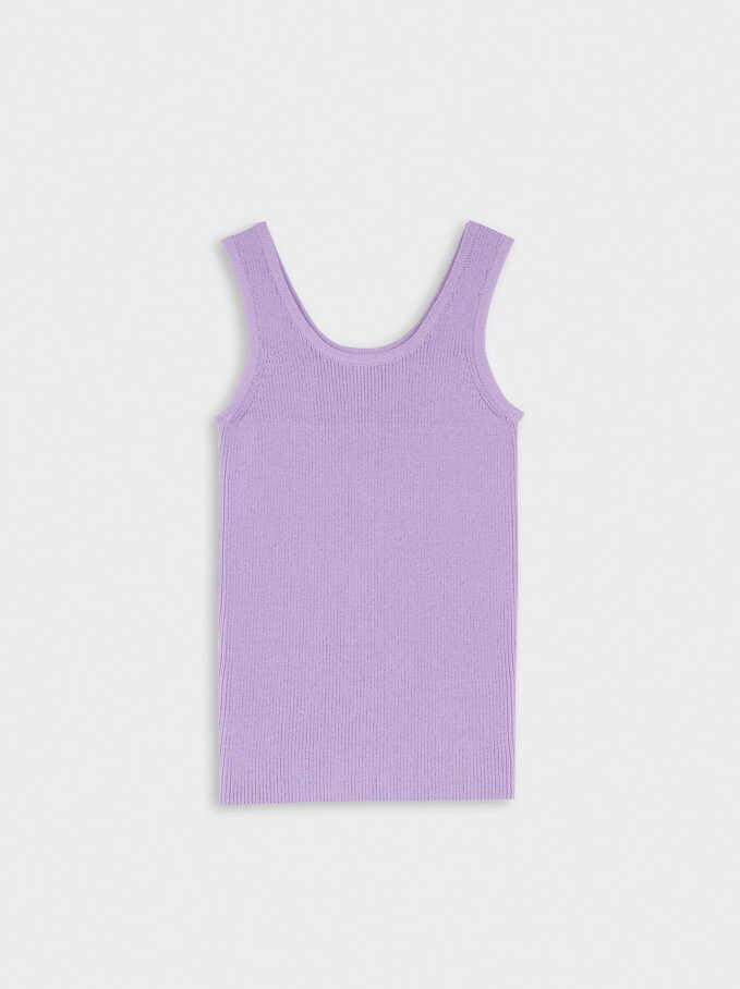 Round Neck Knit Top, Purple, hi-res