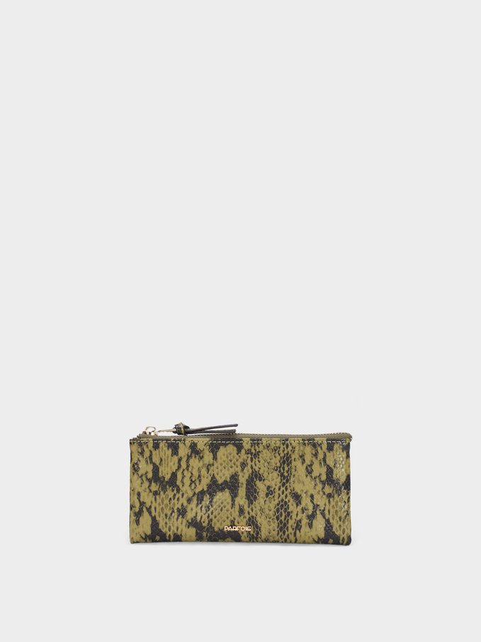 Embossed Animal Print Pencil Case, Green, hi-res