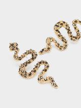 Pendientes Largos De Metal Dorados Serpiente, Multicor, hi-res