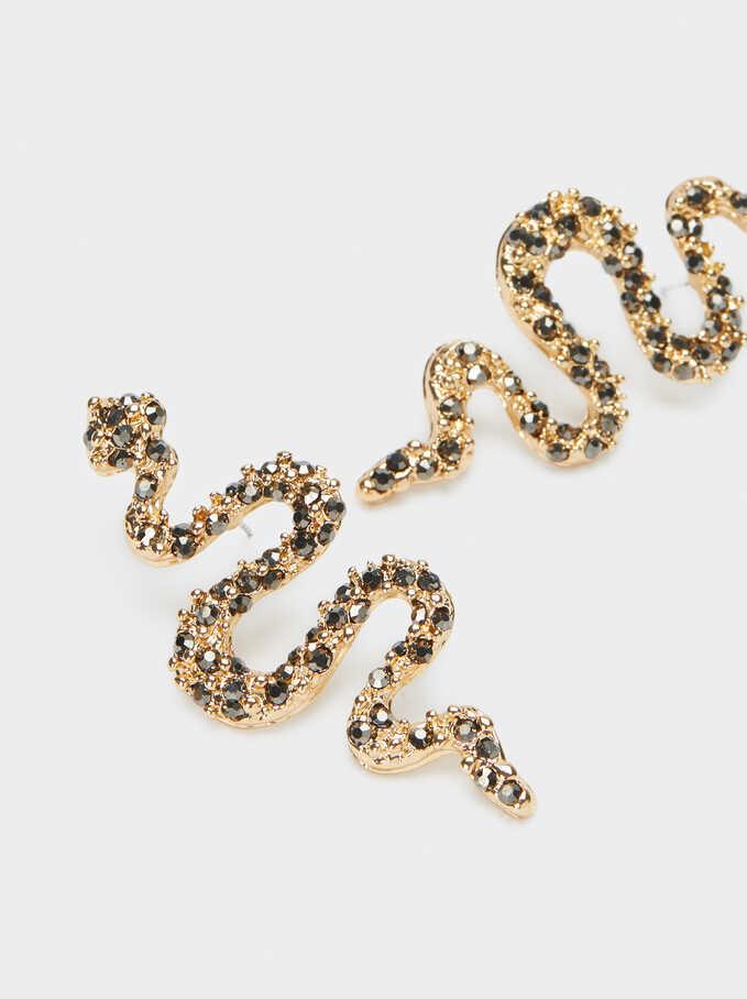 Long Gold Metal Snake Earrings, Multicolor, hi-res