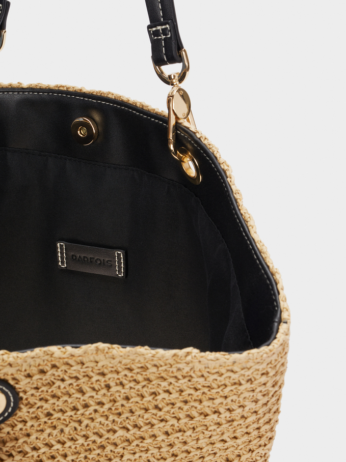 Braided Shopper Bag With Pendants, Ecru, hi-res