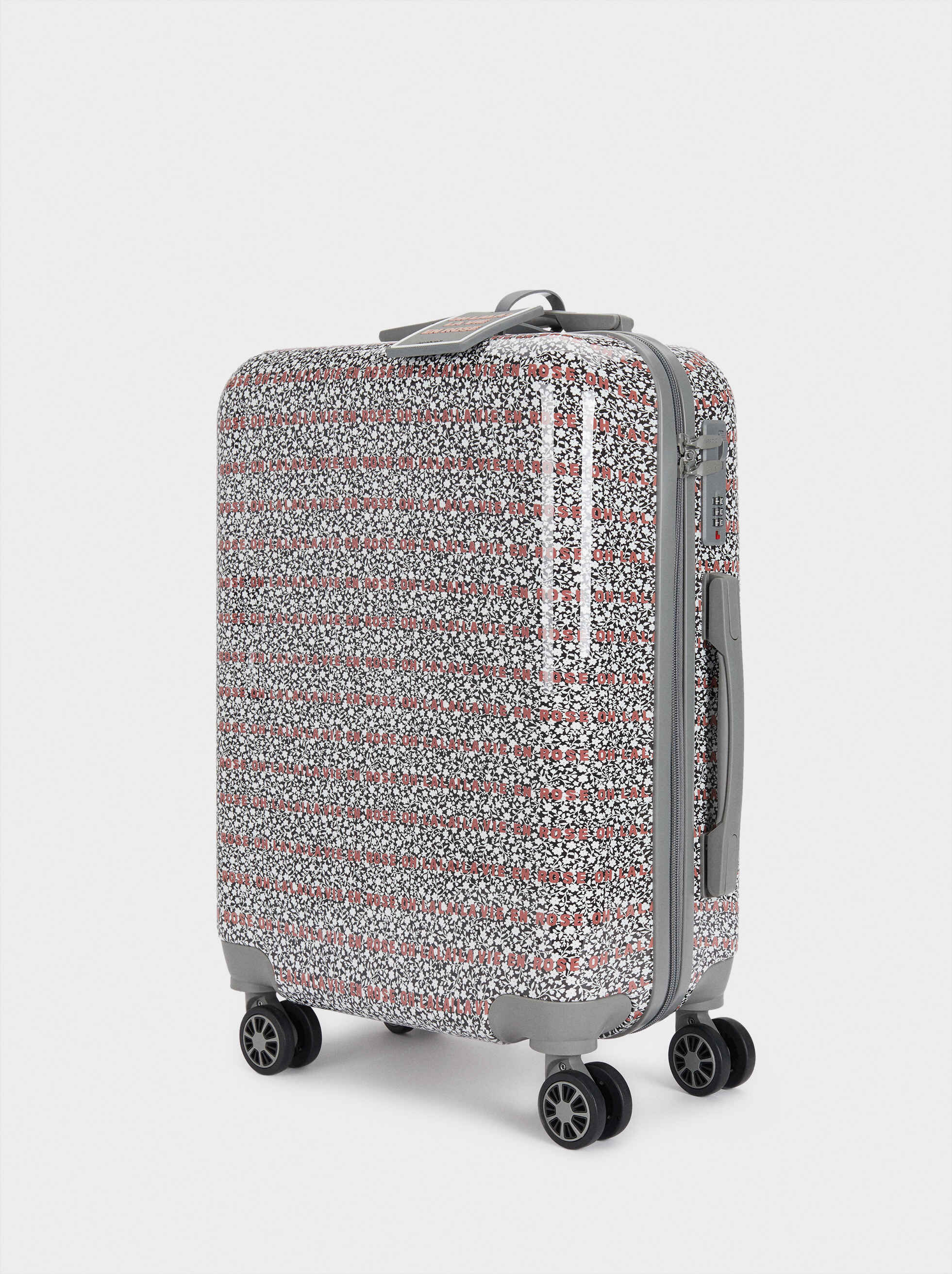 Printed Suitcase, Grey, hi-res