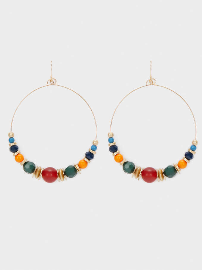 Dangle Earrings With Beads, Multicolor, hi-res