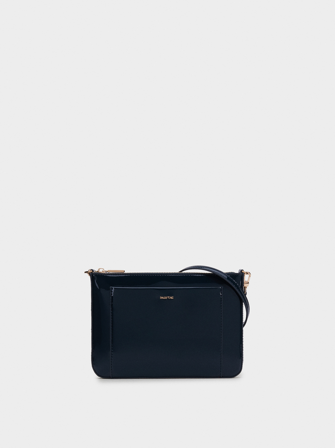 Glossy Crossbody Bag, Blue, hi-res