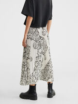 Animal Print Pleated Skirt, White, hi-res