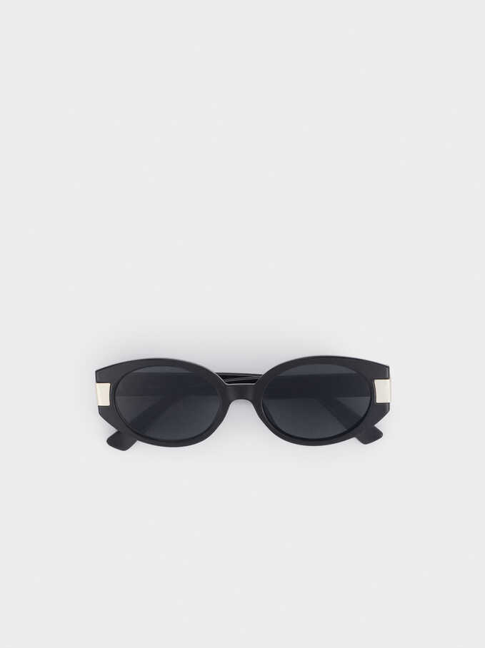 Oval Sunglasses With Metal Detail, Black, hi-res