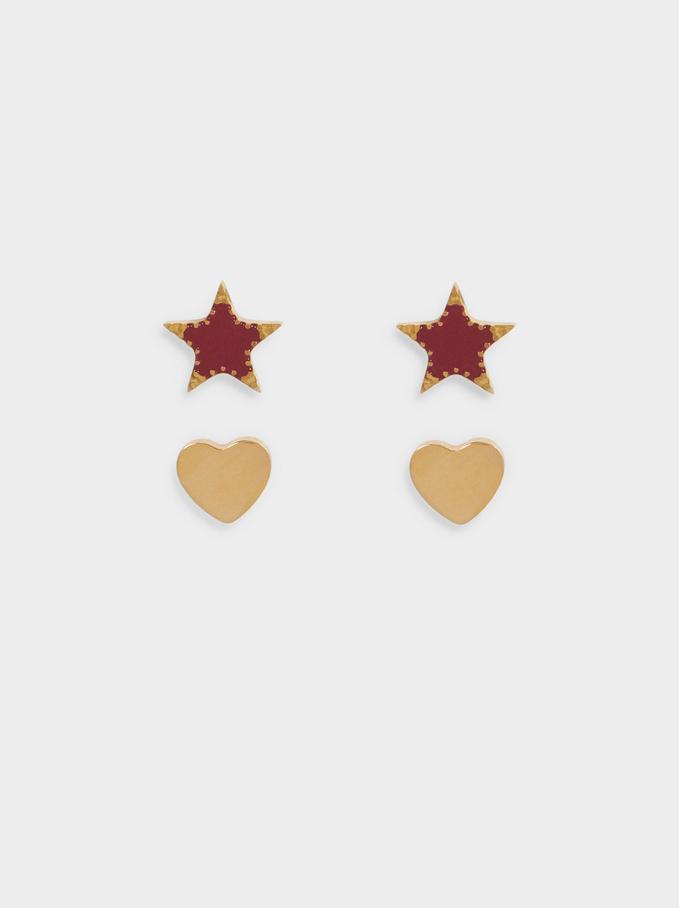 Conjunto De Pendientes De Acero Estrella Y Corazón, Azul, hi-res