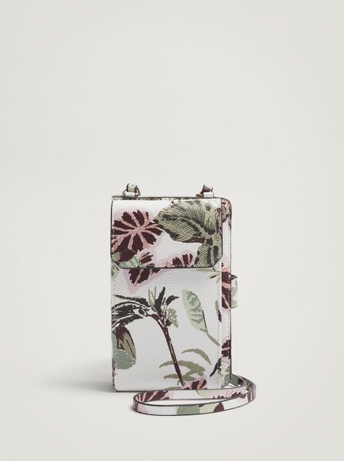 Leaf Print Mobile Phone Case, Ecru, hi-res