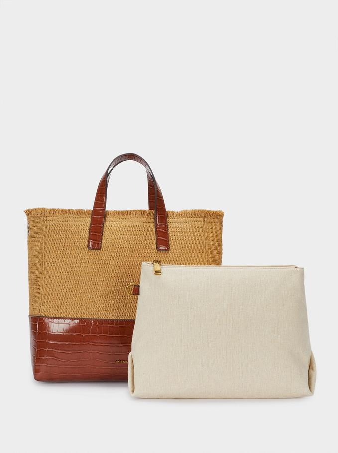 Combined Woven Shopper Bag , Camel, hi-res