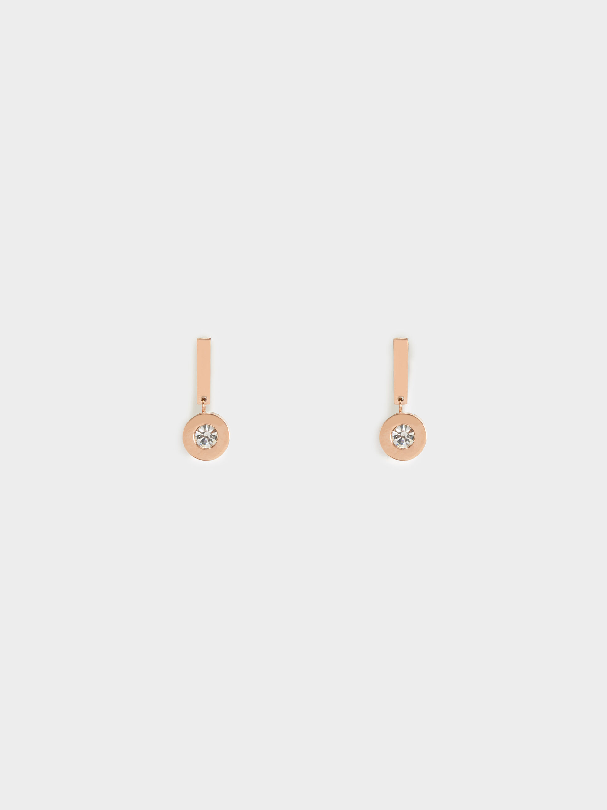 Steel Short Earrings With Rhinestone, , hi-res