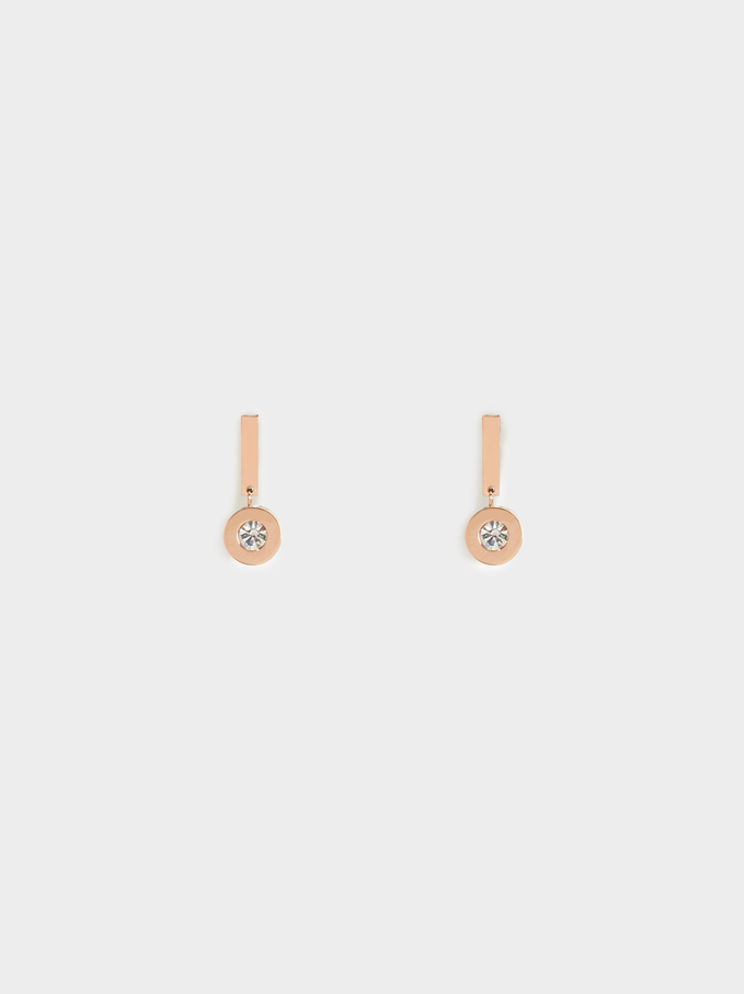 Steel Short Earrings With Rhinestone, Orange, hi-res